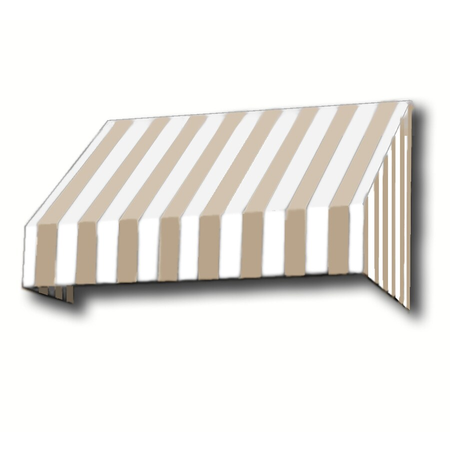 Awntech 148.5-in Wide x 48-in Projection Tan/White Stripe Slope Window/Door Awning