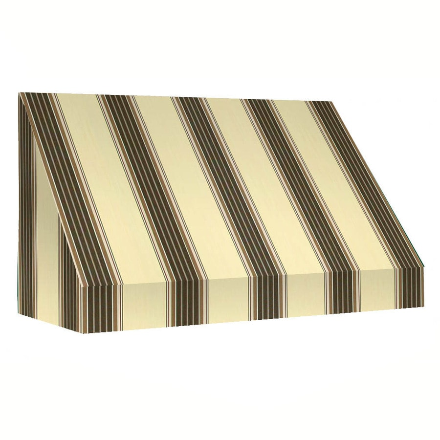 Awntech 35-ft 4-1/2-in Wide x 4-ft Projection Taupe Multi Striped Slope Window/Door Awning