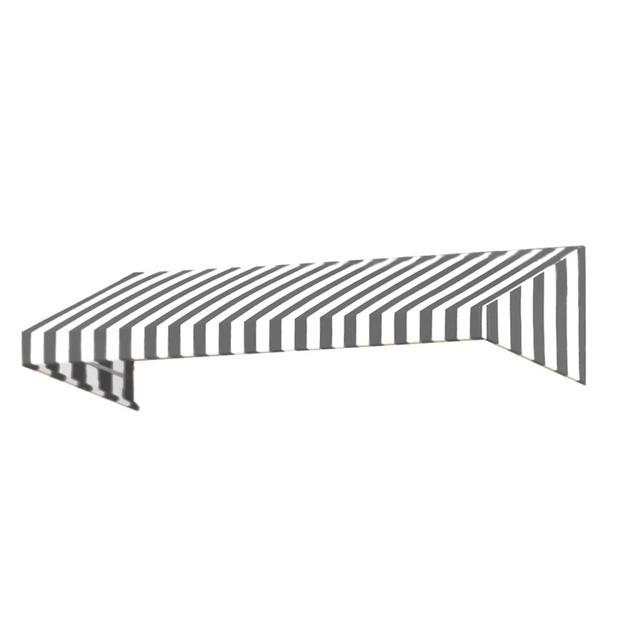 Awntech 424.5-in Wide x 48-in Projection Gray/White Stripe Slope Window/Door Awning