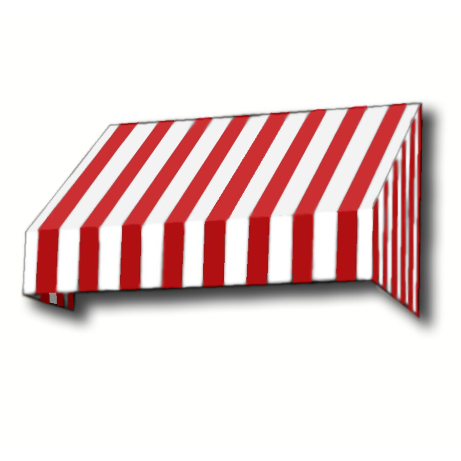 Awntech 604.5-in Wide x 48-in Projection Red/White Stripe Slope Window/Door Awning