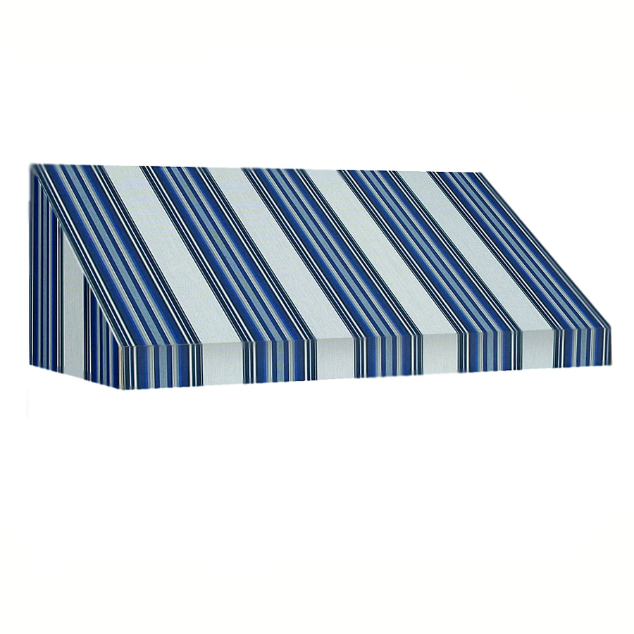 Awntech 76.5-in Wide x 48-in Projection Navy/Gray/White Stripe Slope Window/Door Awning