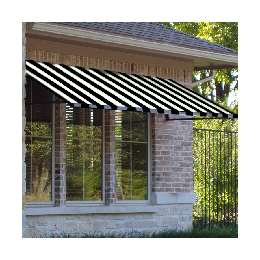 Awntech 484.5-in Wide x 36-in Projection Black/White Stripe Open Slope Window/Door Awning