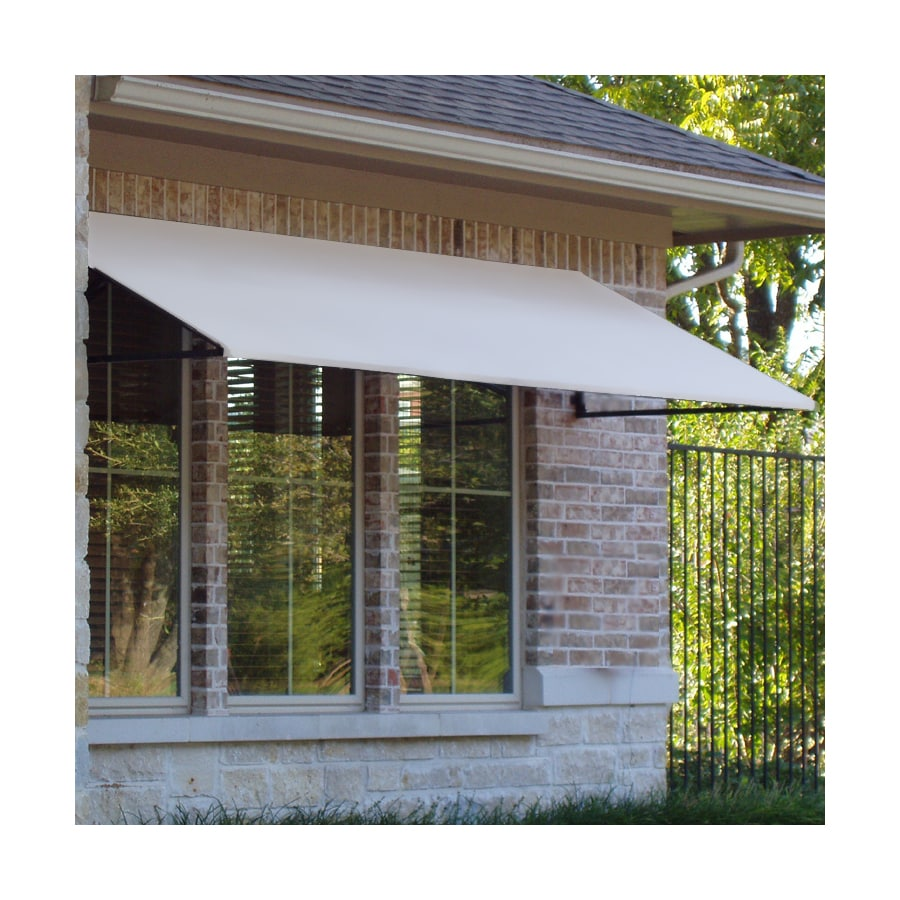 Awntech 424.5-in Wide x 48-in Projection White Solid Open Slope Window/Door Awning