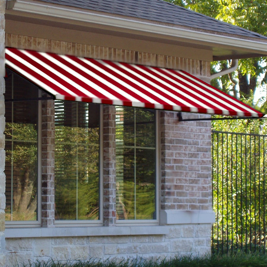 Awntech 484.5-in Wide x 48-in Projection Red/White Stripe Open Slope Window/Door Awning