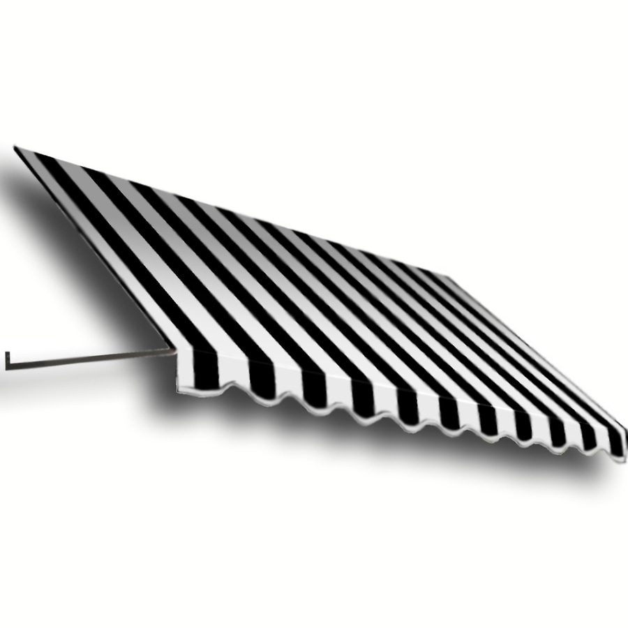 Awntech 52.5-in Wide x 48-in Projection Black/White Stripe Open Slope Window/Door Awning