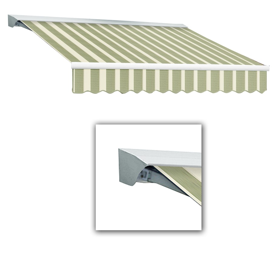 Awntech 16-ft Wide x 10-ft 2-in Projection Sage Multi Striped Slope Patio Retractable Remote Control Awning