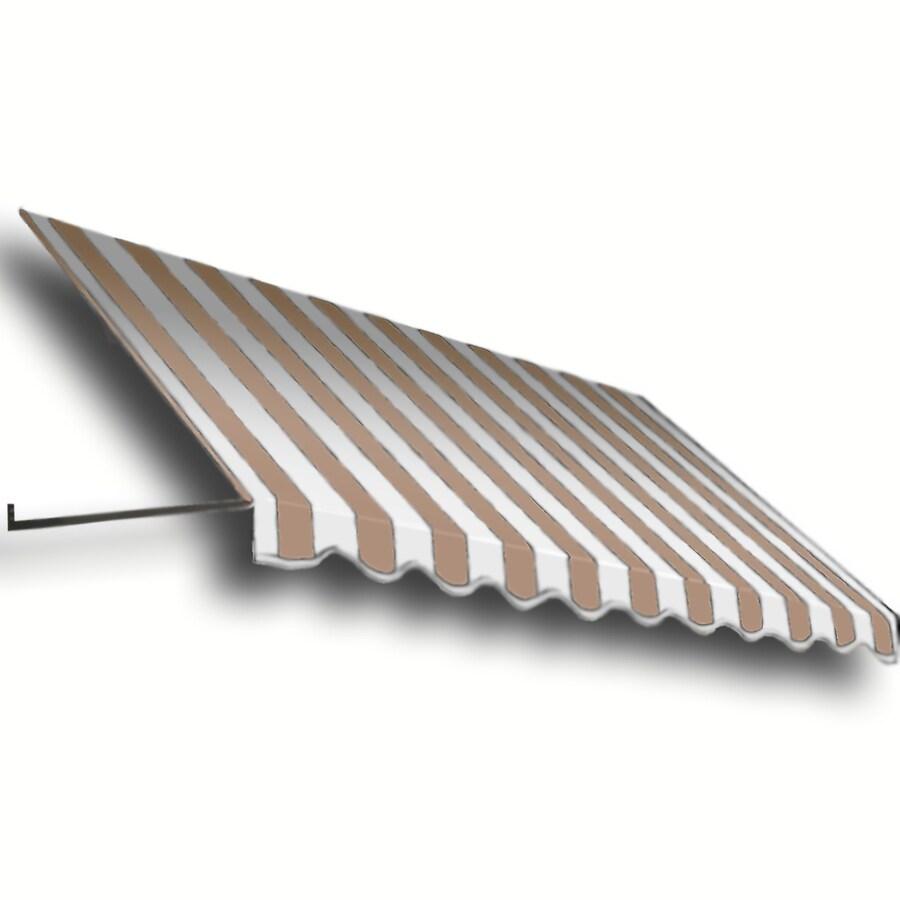 Awntech 124.5-in Wide x 48-in Projection Tan/White Stripe Open Slope Window/Door Awning