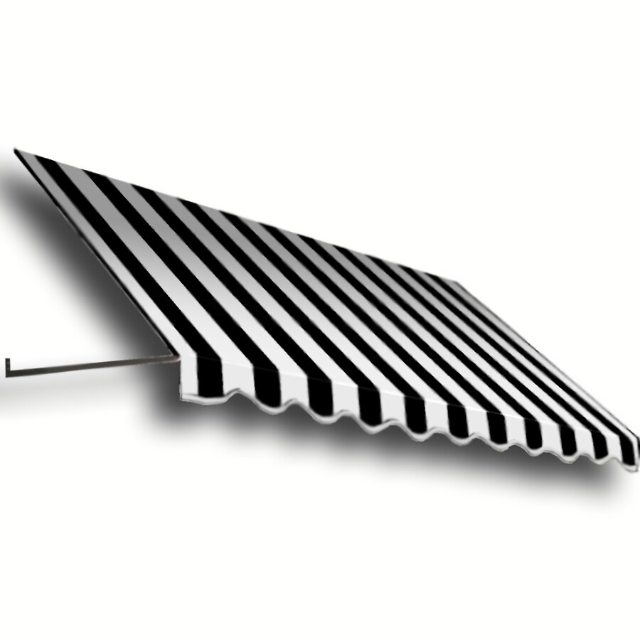 Awntech 148.5-in Wide x 48-in Projection Black/White Stripe Open Slope Window/Door Awning