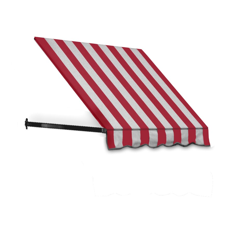 Awntech 196.5-in Wide x 48-in Projection Red/White Stripe Open Slope Window/Door Awning