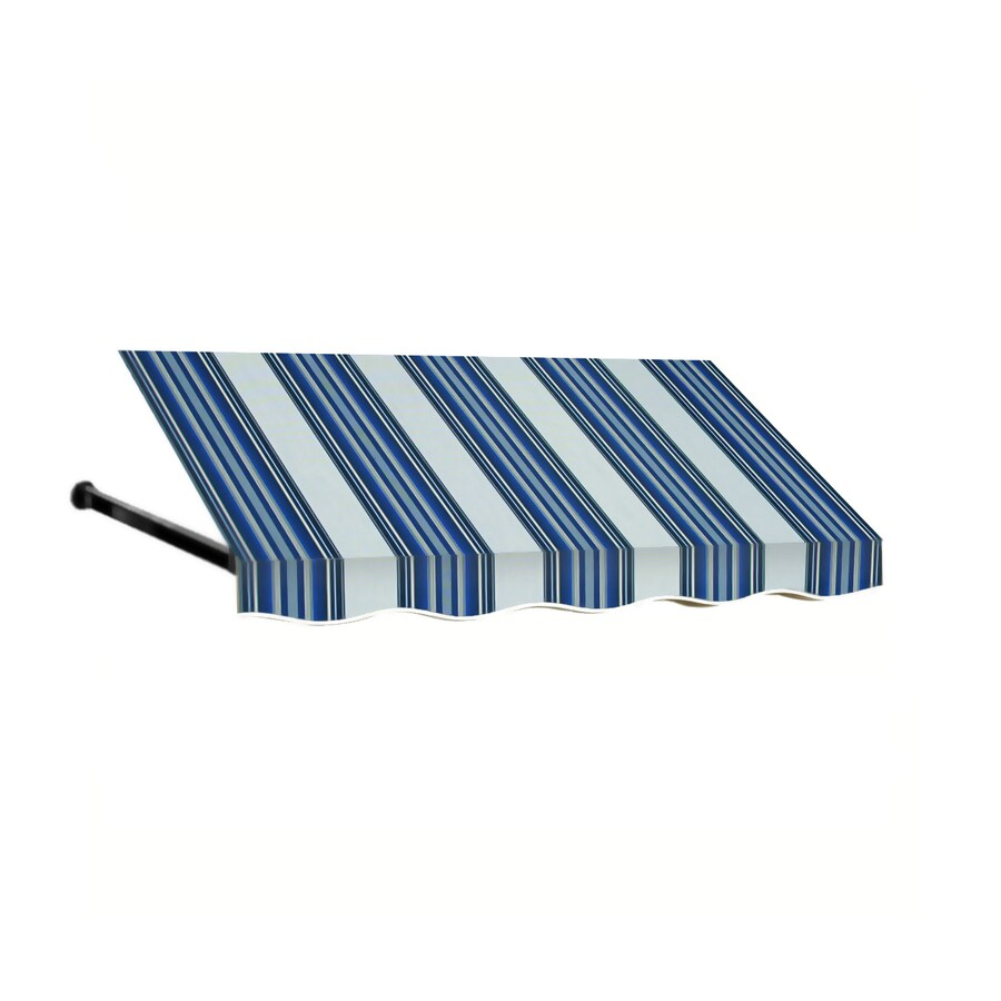 Awntech 148.5-in Wide x 48-in Projection Navy/Gray/White Stripe Open Slope Window/Door Awning