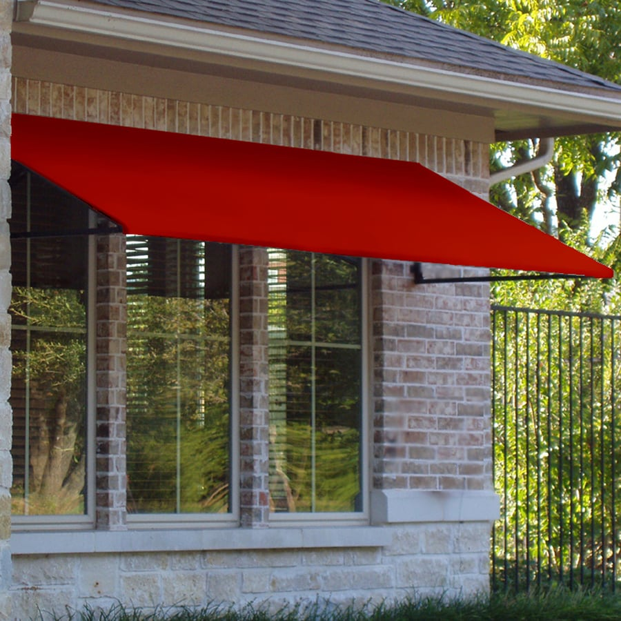 Awntech 544.5-in Wide x 36-in Projection Red Solid Open Slope Window/Door Awning