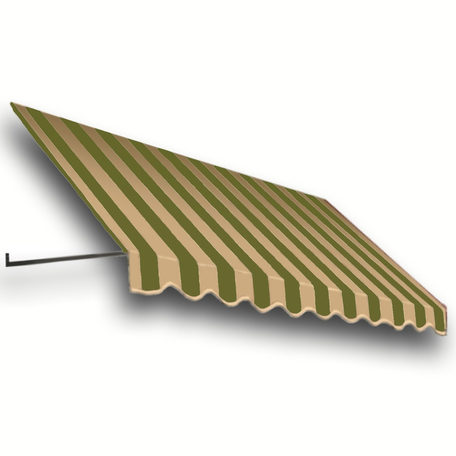 Awntech 124.5-in Wide x 36-in Projection Olive/Tan Stripe Open Slope Window/Door Awning