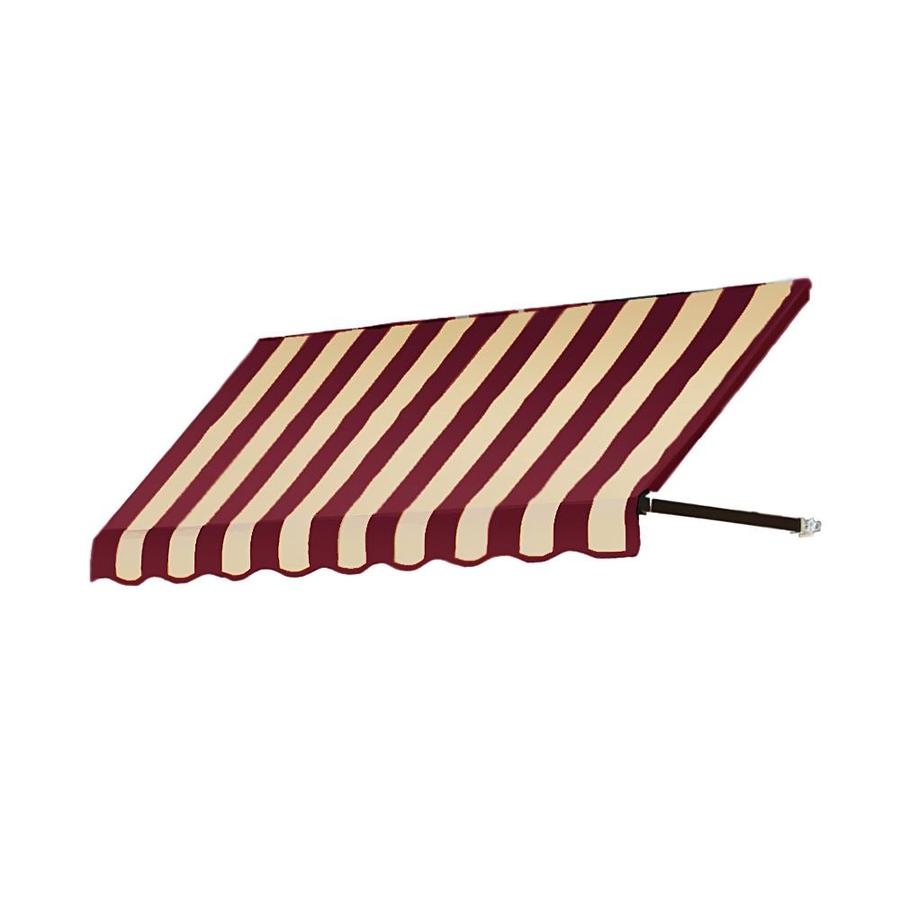 Awntech 124.5-in Wide x 36-in Projection Burgundy/Tan Stripe Open Slope Window/Door Awning