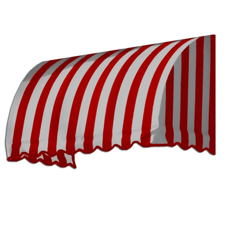 Awntech 76.5-in Wide x 24-in Projection Red/White Stripe Waterfall Window/Door Awning