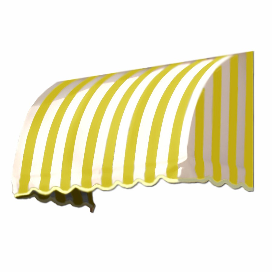 Awntech 124.5-in Wide x 24-in Projection Yellow/White Stripe Waterfall Window/Door Awning