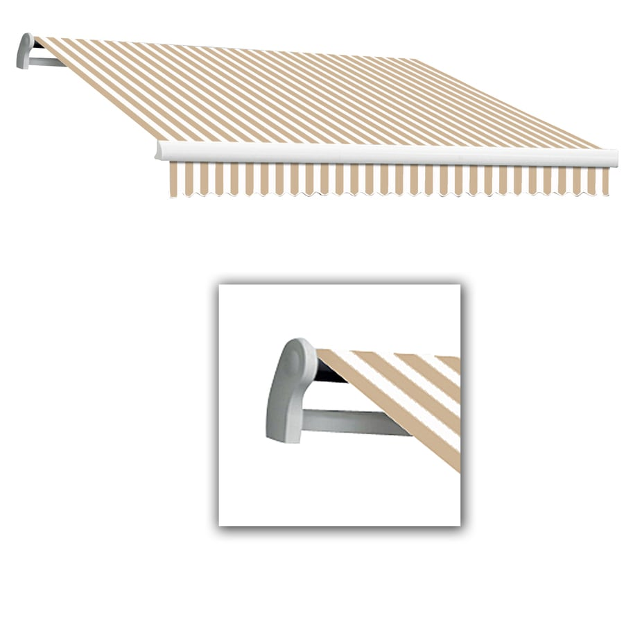 Awntech 10-ft Wide x 8-ft Projection Tan/White Striped Slope Patio Retractable Manual Awning