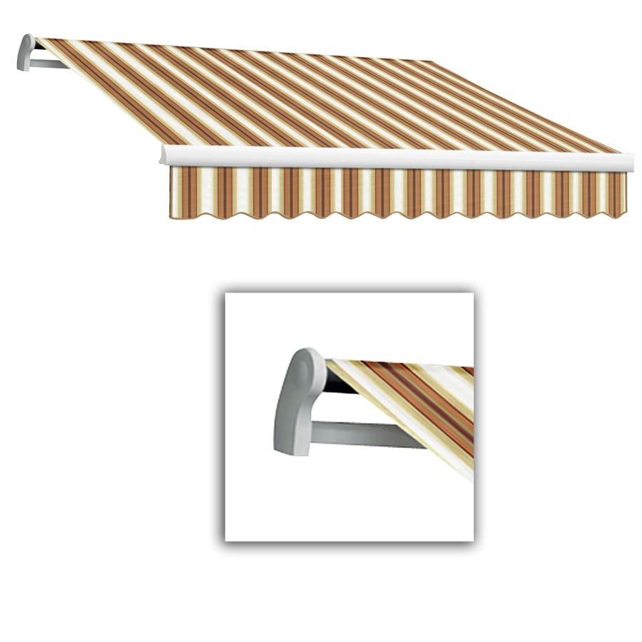 Awntech 16-ft Wide x 10-ft 2-in Projection Tan/Terra Striped Slope Patio Retractable Manual Awning