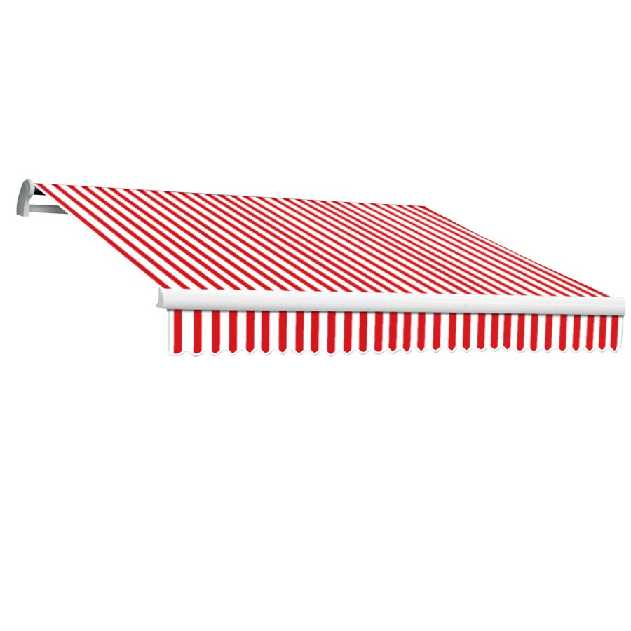 Awntech 16-ft Wide x 10-ft 2-in Projection Red/White Striped Slope Patio  Retractable Motorized Awning
