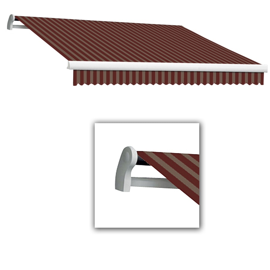 Awntech 24-ft Wide x 10-ft 2-in Projection Burgundy/Tan Striped Slope Patio Retractable Remote Control Awning