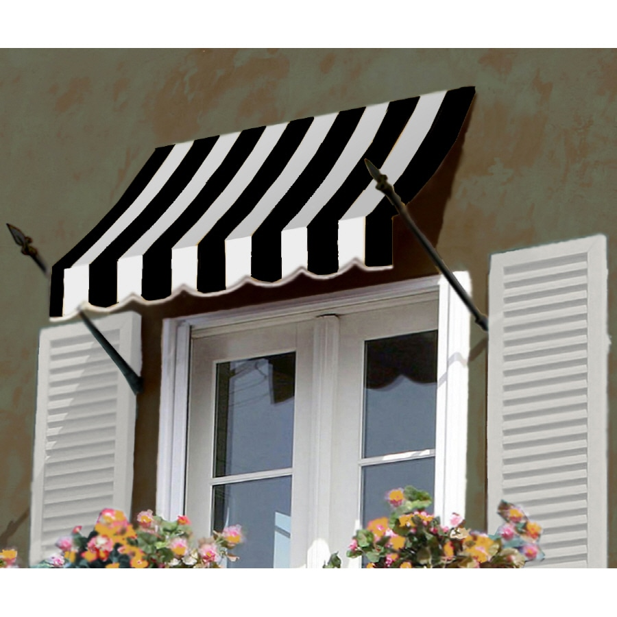 "Awntech 5' Beauty-Mark� New Orleans� (31""H X 16""D) Window/Entry Awning / Black/White Stripe"