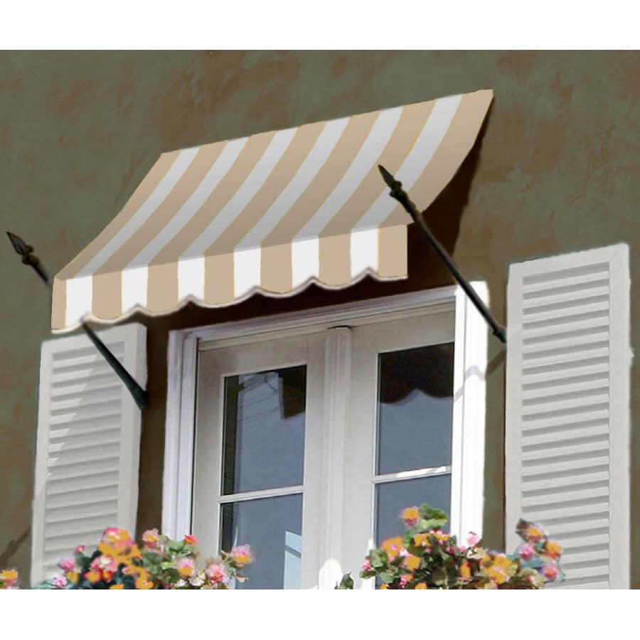 """Awntech 8' Beauty-Mark� New Orleans� (31""""H X 16""""D) Window/Entry Awning / Tan/White Stripe"""