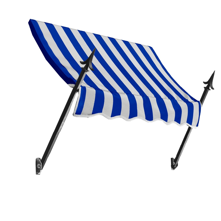 Awntech 124.5-in Wide x 16-in Projection Bright Blue/White Stripe Open Slope Window/Door Awning