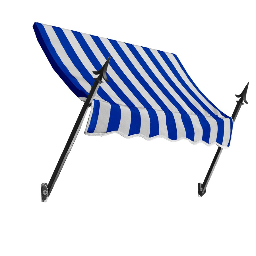 Awntech 124.5000-in Wide x 16-in Projection Bright Blue/White Striped Open Slope Window/Door Fixed Awning