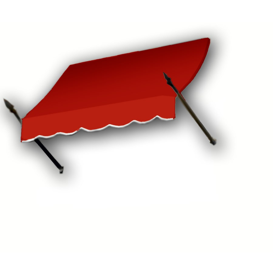 Awntech 124.5000-in Wide x 16-in Projection Red Solid Open Slope Window/Door Fixed Awning