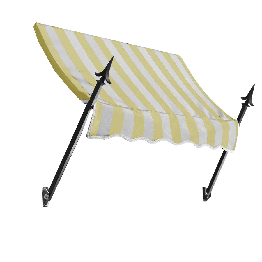 Awntech 124.5-in Wide x 16-in Projection Yellow/White Stripe Open Slope Window/Door Awning