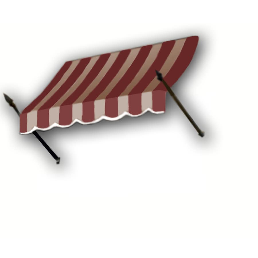 Awntech 148.5-in Wide x 24-in Projection Burgundy/Tan Stripe Open Slope Window/Door Awning