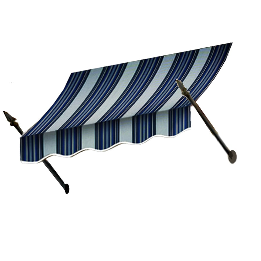 Awntech 124.5-in Wide x 32-in Projection Navy/Gray/White Stripe Open Slope Window/Door Awning