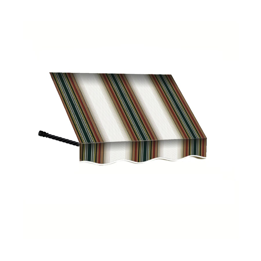 Awntech 52.5-in Wide x 36-in Projection Burgundy/Forest/Tan Stripe Open Slope Window/Door Awning
