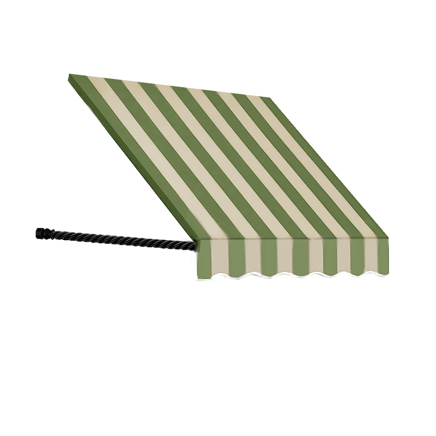 Awntech 100.5-in Wide x 36-in Projection Olive/Tan Stripe Open Slope Window/Door Awning