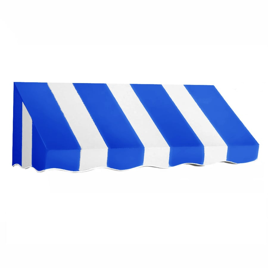 Awntech 148.5-in Wide x 36-in Projection Bright Blue/White Stripe Slope Window/Door Awning