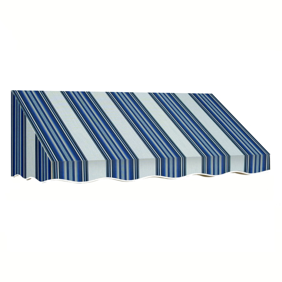 Awntech 196.5-in Wide x 48-in Projection Navy/Gray/White Stripe Slope Window/Door Awning
