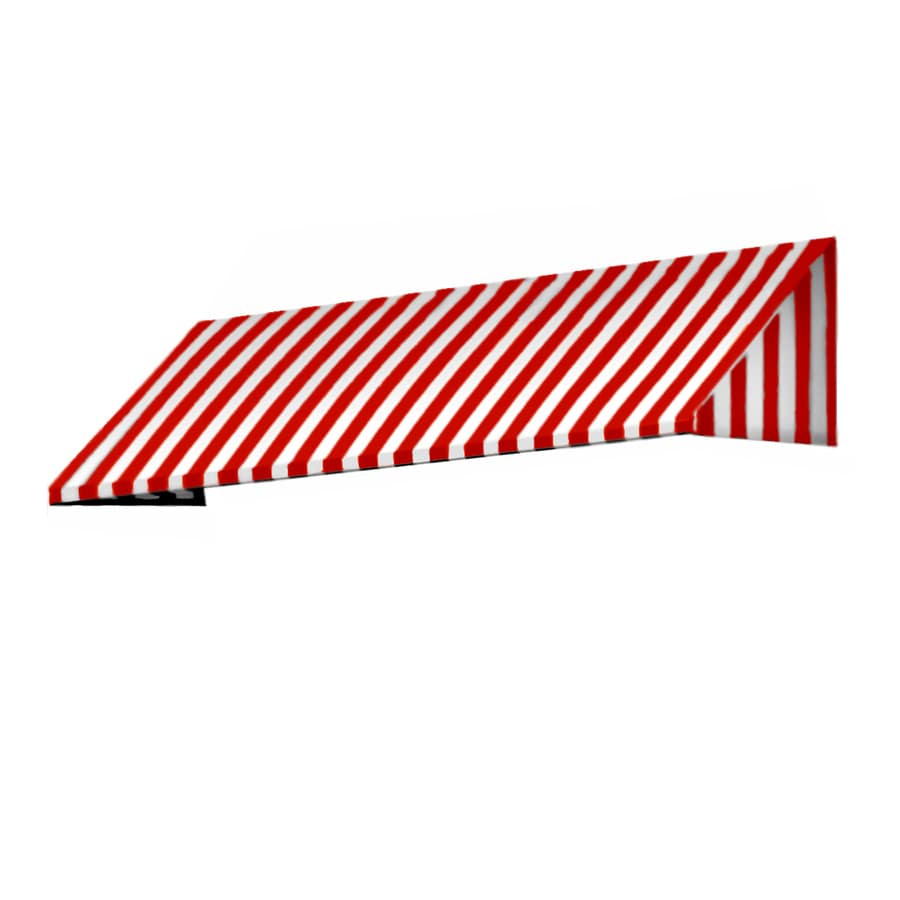 Awntech 124.5-in Wide x 48-in Projection Red/White Stripe Slope Window/Door Awning