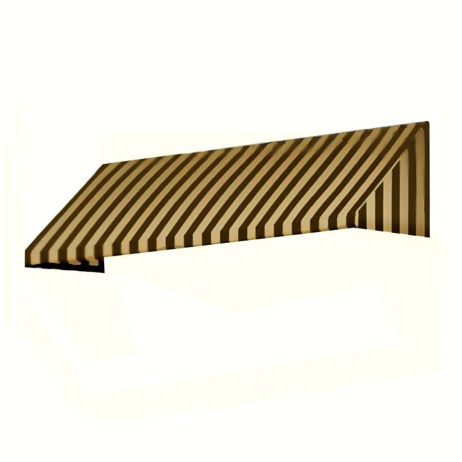 Awntech 424.5-in Wide x 48-in Projection Brown/Tan Stripe Slope Window/Door Awning
