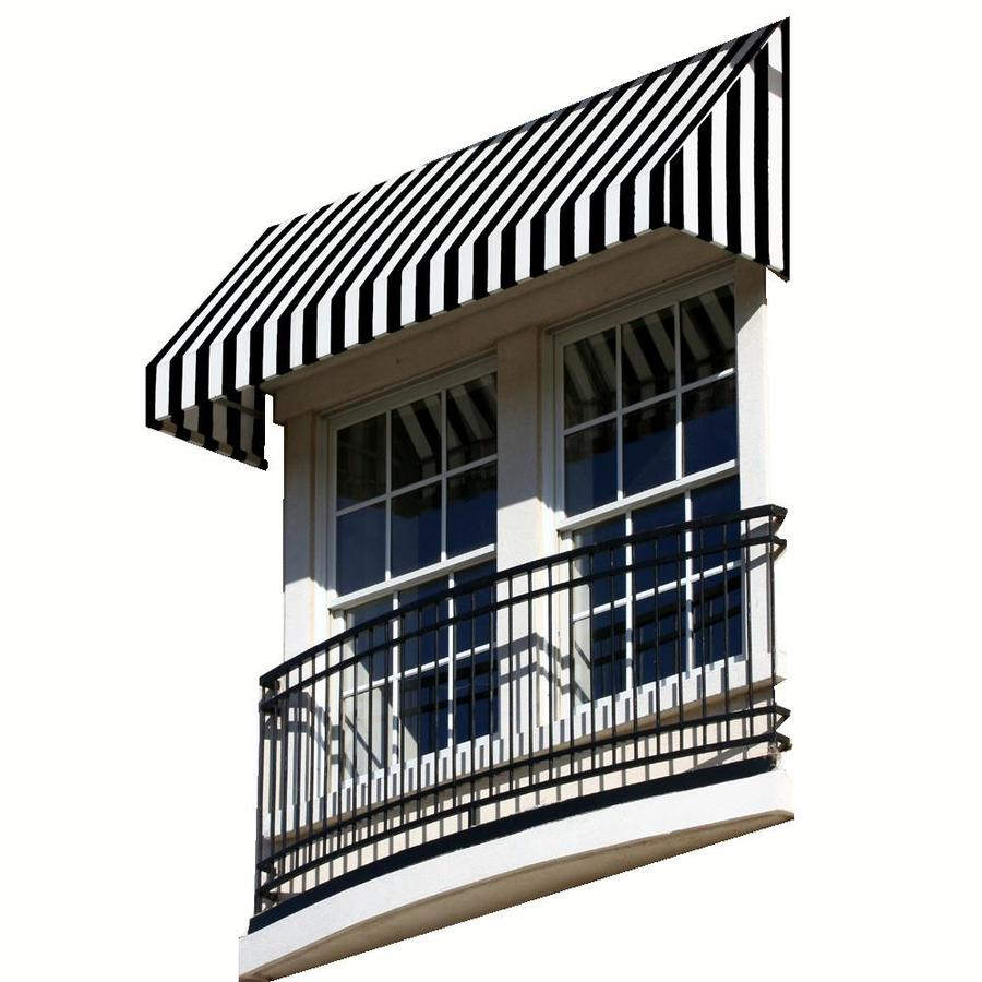 Awntech 52.5-in Wide x 30-in Projection Black/White Stripe Slope Low Eave Window/Door Awning