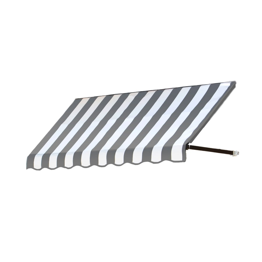 Awntech 124.5-in Wide x 24-in Projection Gray/White Stripe Open Slope Window/Door Awning
