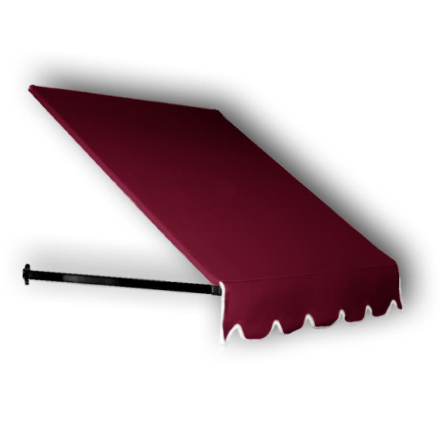 Awntech 52.5-in Wide x 12-in Projection Burgundy Solid Open Slope Window/Door Awning