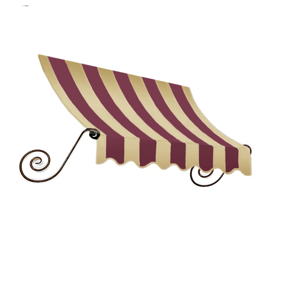 Awntech 124.5-in Wide x 24-in Projection Burgundy/Tan Stripe Open Slope Window/Door Awning
