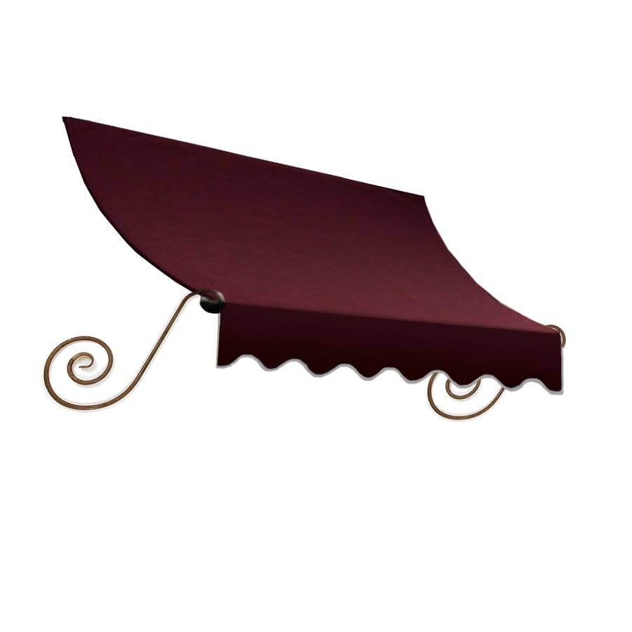 Awntech 124.5-in Wide x 36-in Projection Burgundy Solid Open Slope Window/Door Awning