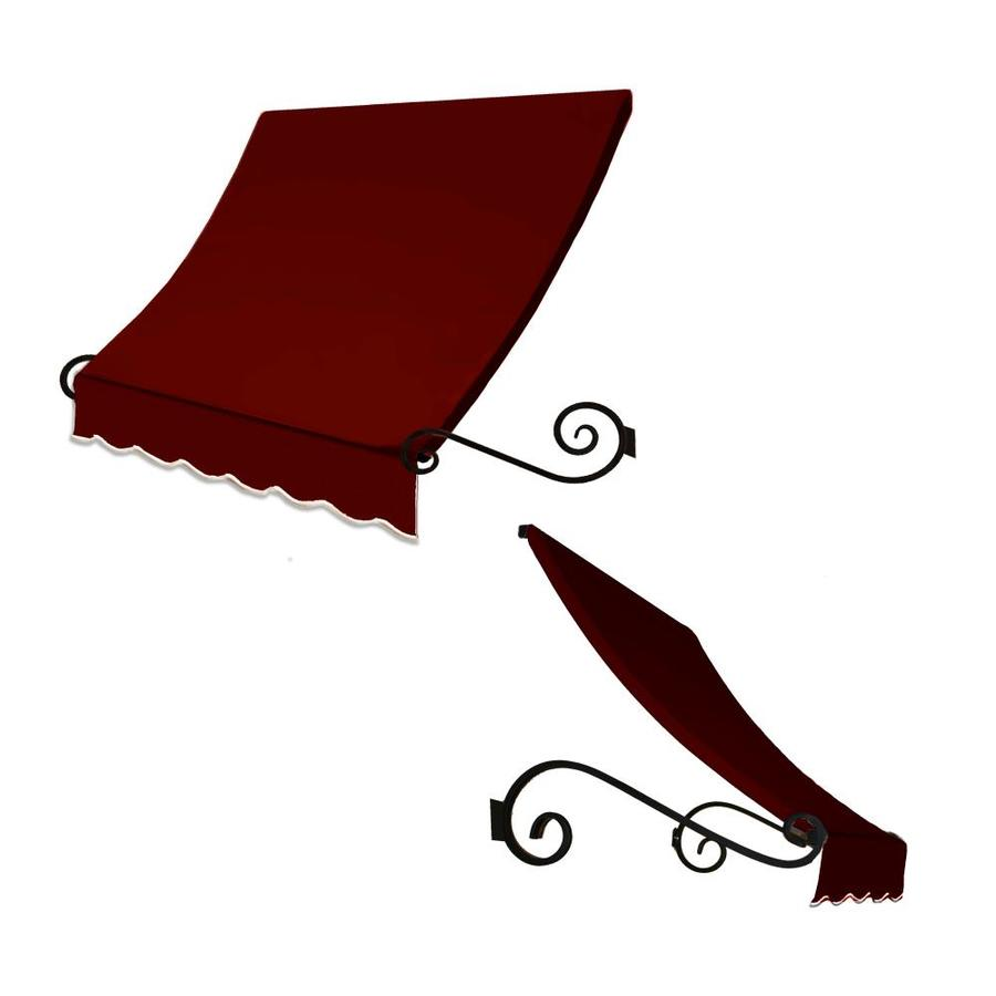 Awntech 124.5000-in Wide x 36-in Projection Burgundy Solid Open Slope Window/Door Fixed Awning