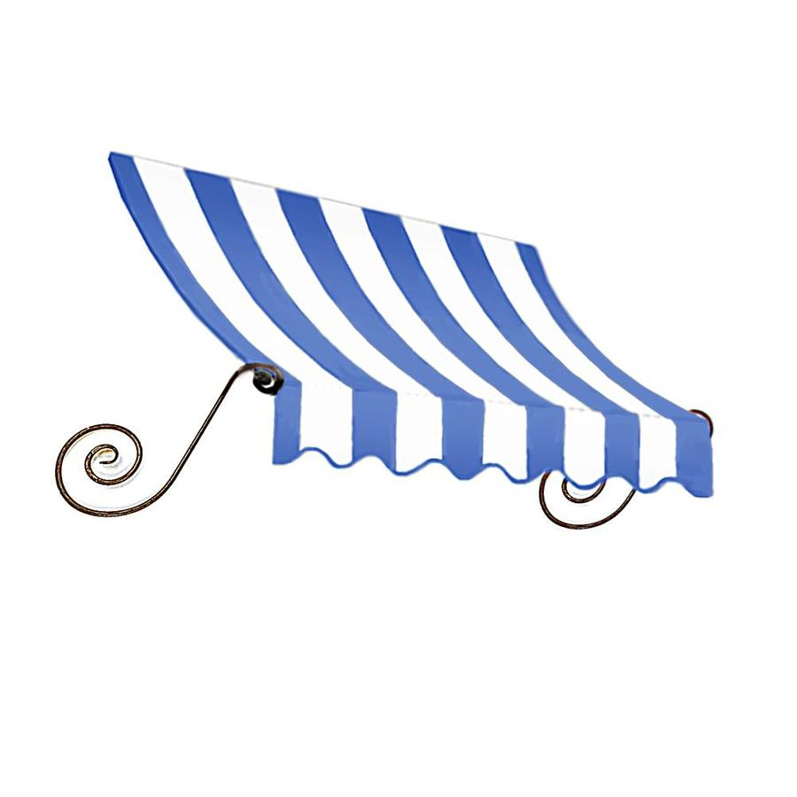 Awntech 124.5000-in Wide x 36-in Projection Bright Blue/White Striped Open Slope Window/Door Fixed Awning