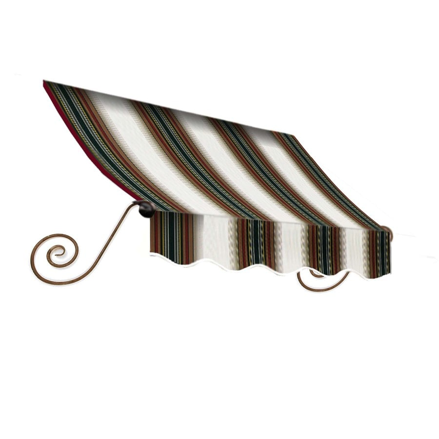 Awntech 76.5000-in Wide x 36-in Projection Burgundy/Forest/Tan Striped Open Slope Window/Door Fixed Awning