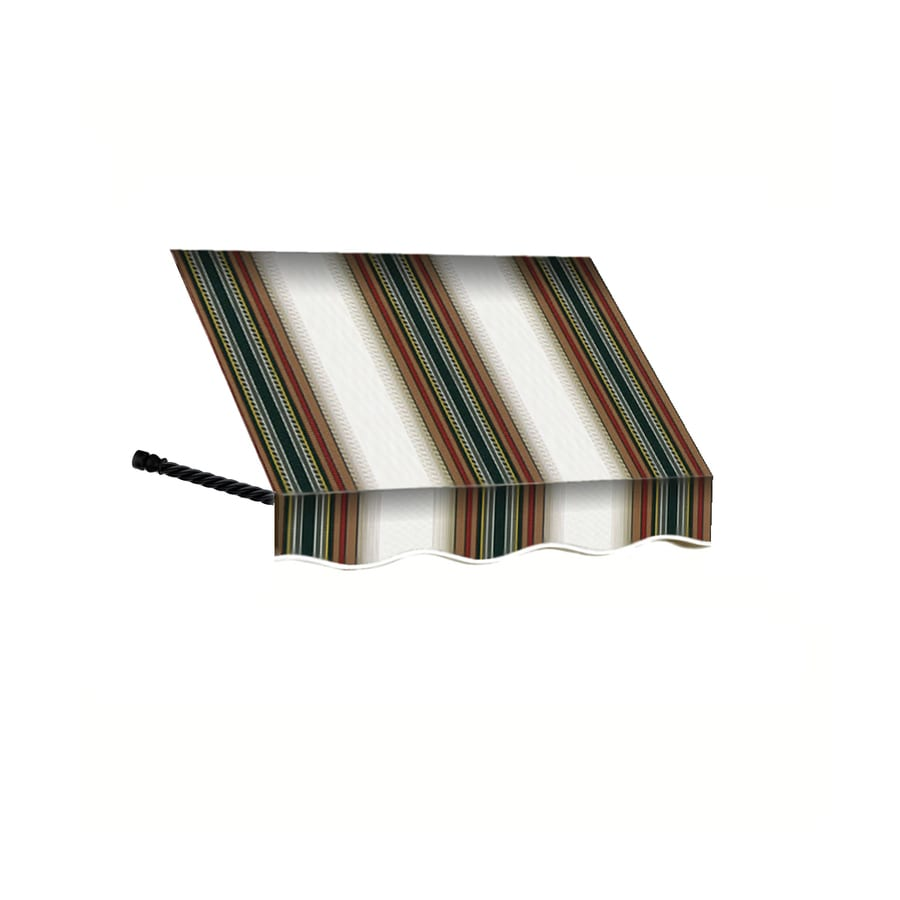 Awntech 40.5-in Wide x 24-in Projection Burgundy/Forest/Tan Stripe Open Slope Window/Door Awning