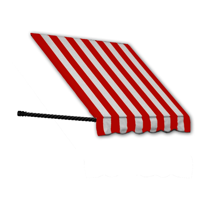 Awntech 40.5-in Wide x 24-in Projection Red/White Stripe Open Slope Window/Door Awning