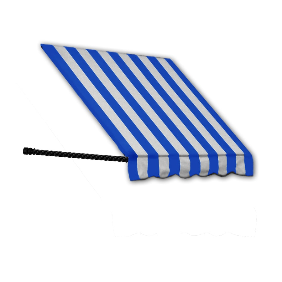 Awntech 64.5-in Wide x 24-in Projection Bright Blue/White Stripe Open Slope Window/Door Awning