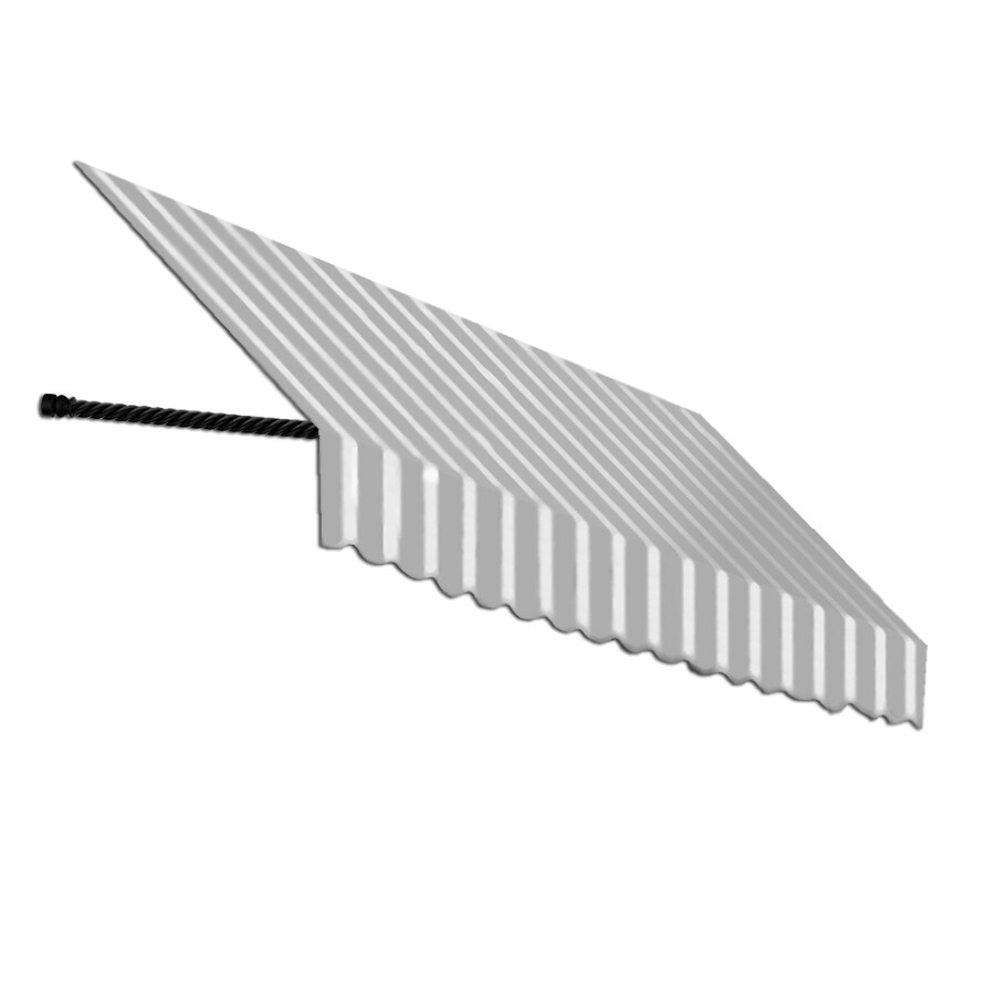 Awntech 64.5-in Wide x 24-in Projection Gray/White Stripe Open Slope Window/Door Awning
