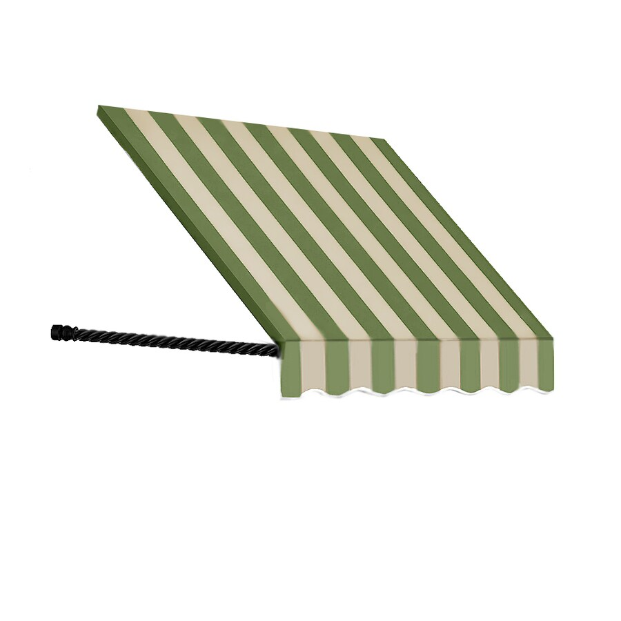 Awntech 76.5-in Wide x 24-in Projection Olive/Tan Stripe Open Slope Window/Door Awning